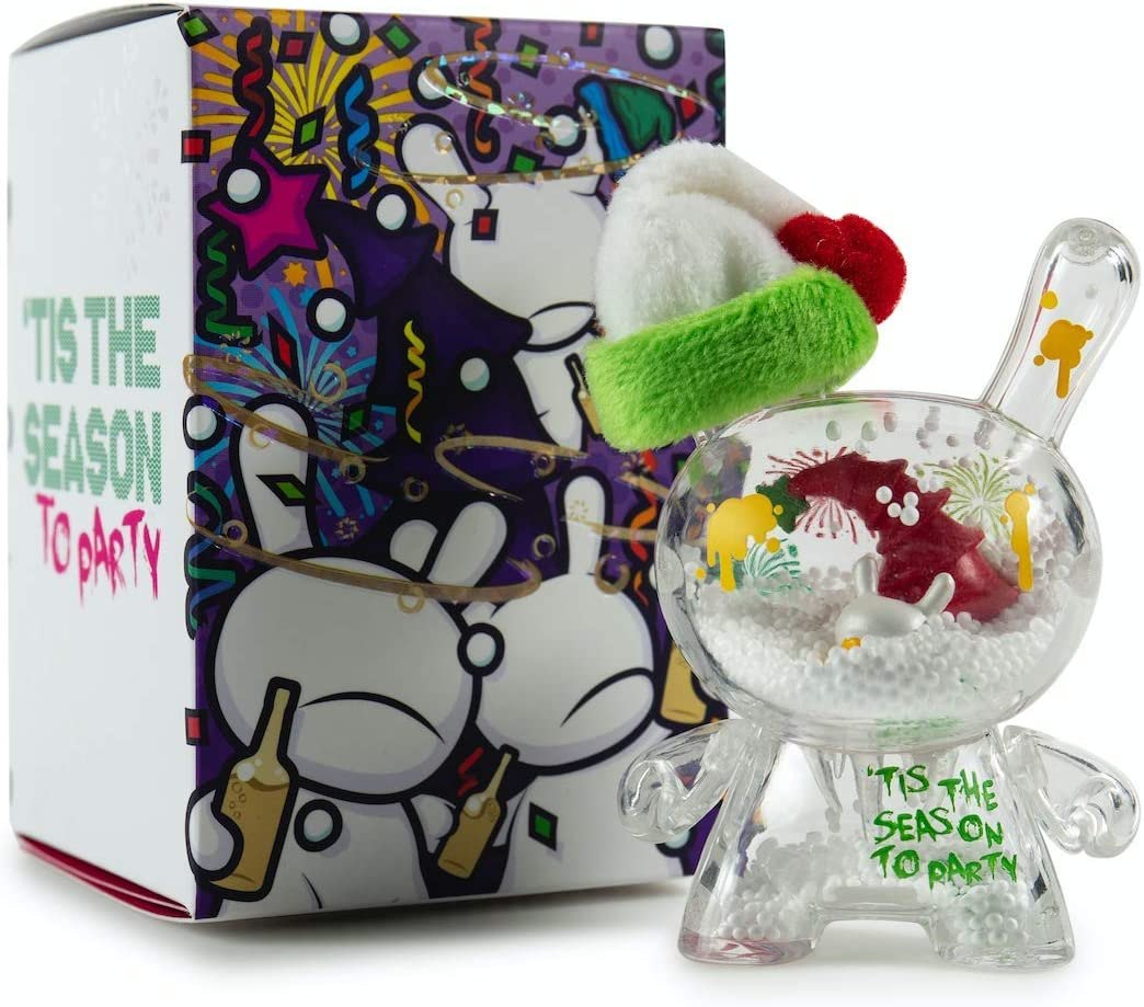 "KidRobot HOLIDAY PARTY DUNNY Holiday 2018 3/"" Fiesta Snow Globe Dunny NEW SEALED"
