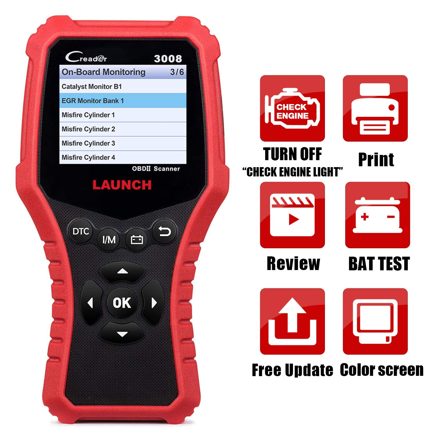 LAUNCH Creader 3008 2018 OBD2 Scanner Engine Scan Tool Automotive Diagnostic Tool with Battery Test and Print Function, Support O2 Sensor/Evap System Test/Check Engine Light/Graph Data Stream
