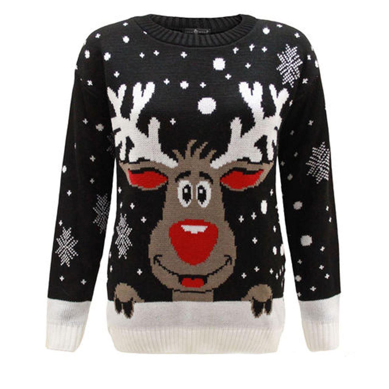 Worldwidetrendz - Renna da Donna Rudolf Xmas Christmas Pullover