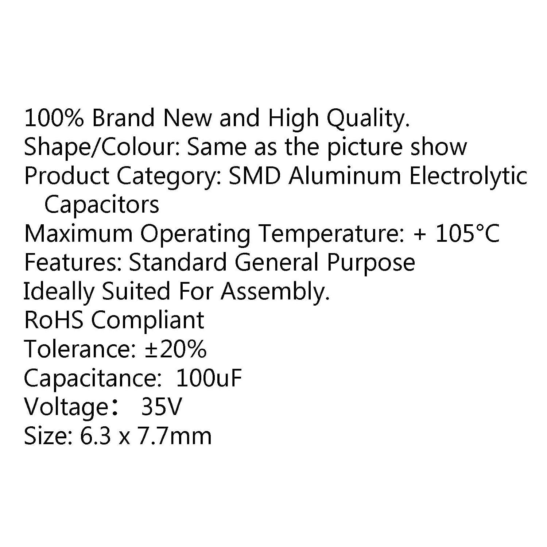 -20/% SMD Aluminum Electrolytic Capacitor Chip E-Cap 7.7mm Areyourshop 10PCS 35V 100uF 6.3