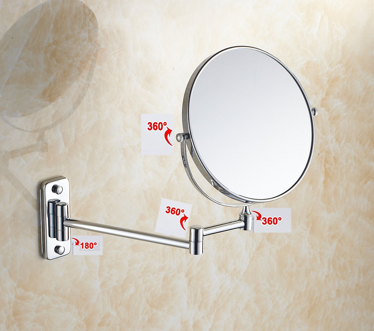 IBeaty Bathroom Mirror 8 inch Wall Mount Makeup Mirror Double-Sided Face Mirror, Swivel Vanity Mirror 1x and 7x Magnification Polished Chrome Finished by IBeaty (Image #2)
