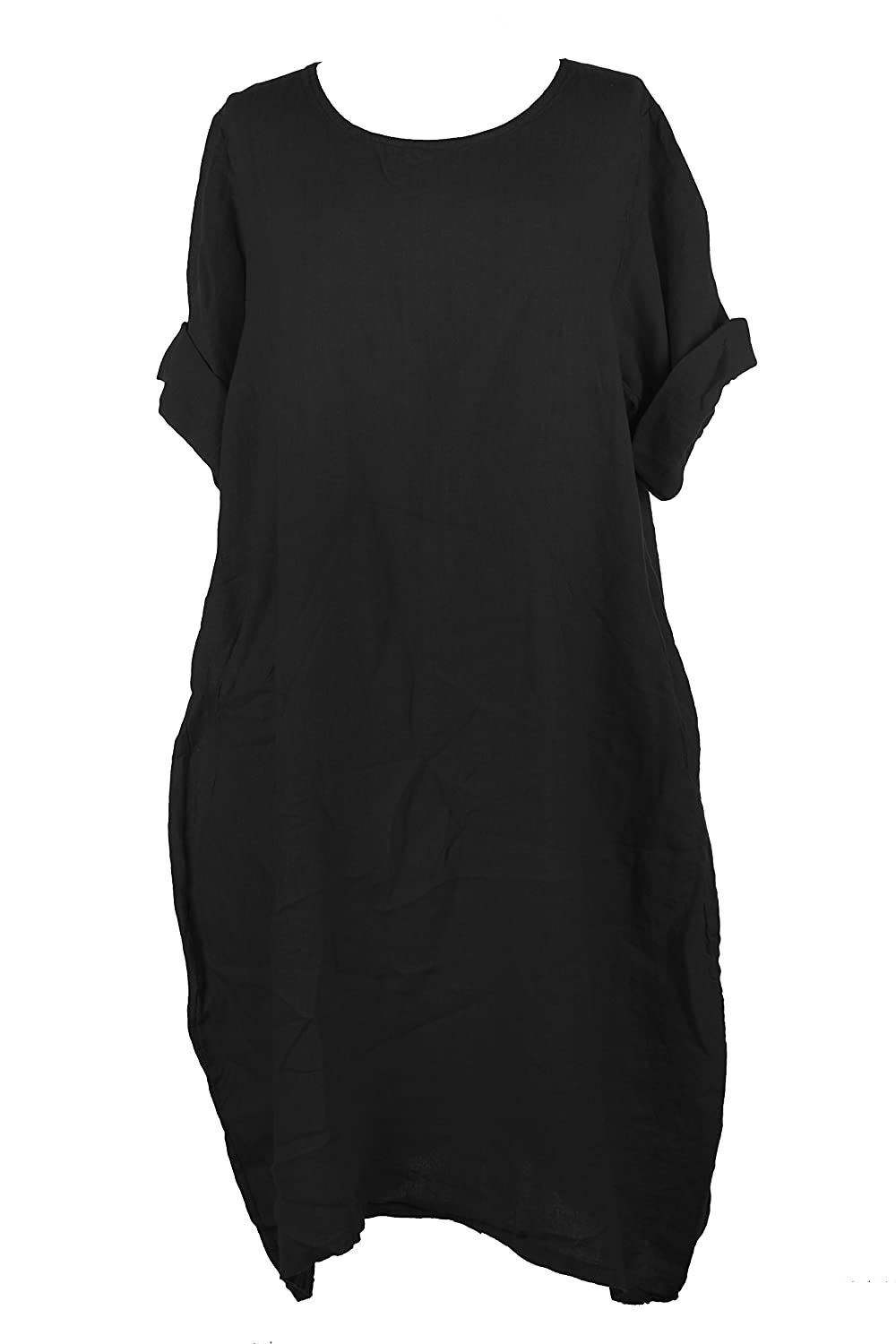 e5d970f285 Scoop neck. Quirky pockets at the front on both sides. Premium linen dress  has a flattering tulip shape which gives a stylish fit