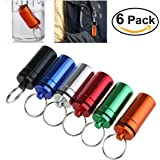 WINOMO 6pcs Waterproof Pill Holder Box Case Bottle Keychain Container Aluminum