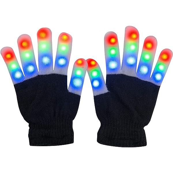 LED Rave Flashing Gloves Glow 7 Mode Light Up Finger Lighting Black New CO