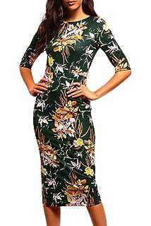 La Mujer Elegante Estampado Floral Vintage Vestido De Cóctel Lápiz Bodycon Midi