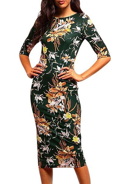La Mujer Elegante Estampado Floral Vintage Vestido De Cóctel Lápiz Bodycon Midi: Amazon.es: Ropa y accesorios