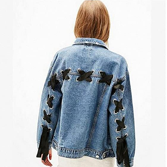 Womens Denim Jacket Boyfriends Criss-Cross Lace-Up Bomber Jacket Srteetwear Long Sleeve Denim