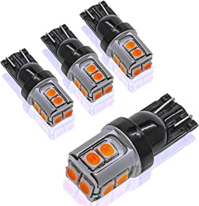 DODOFUN CANBUS T10 Extra Bright Yellow Amber Color Car Interior Exterior Replacement Bulb 168 175 194 2825 W5W etc. Size Map Dome Door LED Light 12V ~ 24V Error Free (Pack of 4)