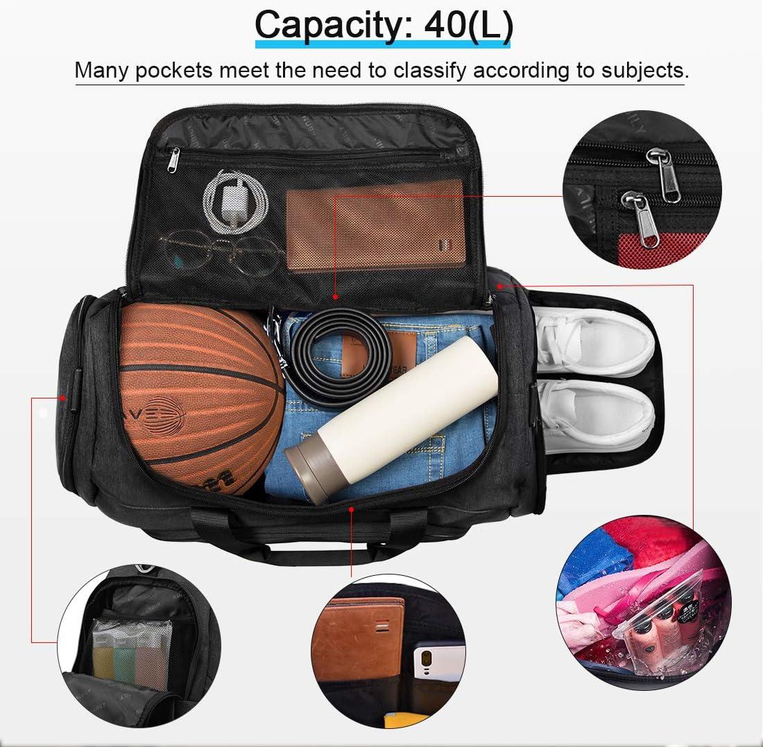 NUBILY Bolsa de Deporte Bolsa Gimnasio de Viaje con Compartimento para Zapatos Impermeable Bolsos Deportivos/Mujer de Grande 40L para Hombre y Mujer Negro