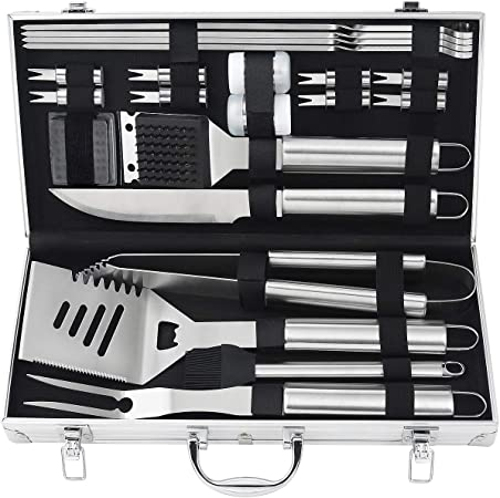 24pcs Stainless Steel BBQ Accessories in Aluminum Case Premium Complete Outdoor BBQ Utensil Gift Set for Man grilljoy BBQ Grill Tool Set