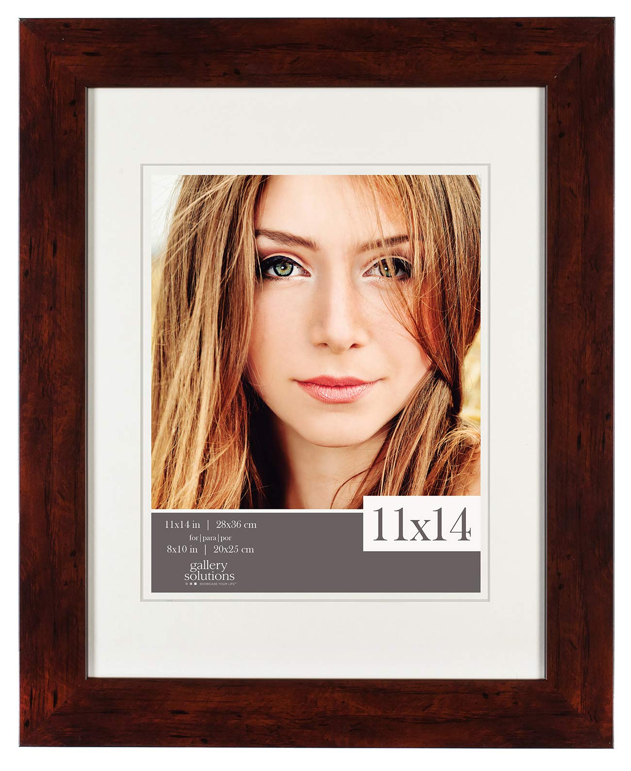 Gallery Solutions 11x14 Walnut Picture Frame with Double White Mat Opening for 8x10 Image, 8 inches x 10 inches, by Gallery Solutions