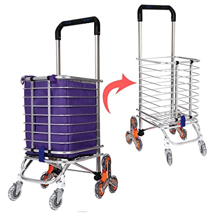 keland plegable carrito de la compra con ruedas, 3-Wheel subir escaleras carro plegable