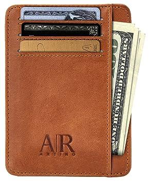 eef14cd79 Tarjetero para hombre con seguridad RFID de piel auténtica – Cartera fina –  Billetera delgada de