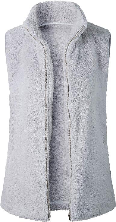 Women Sleeveless Faux Fur Fleece Vest Fluffy Lightweight