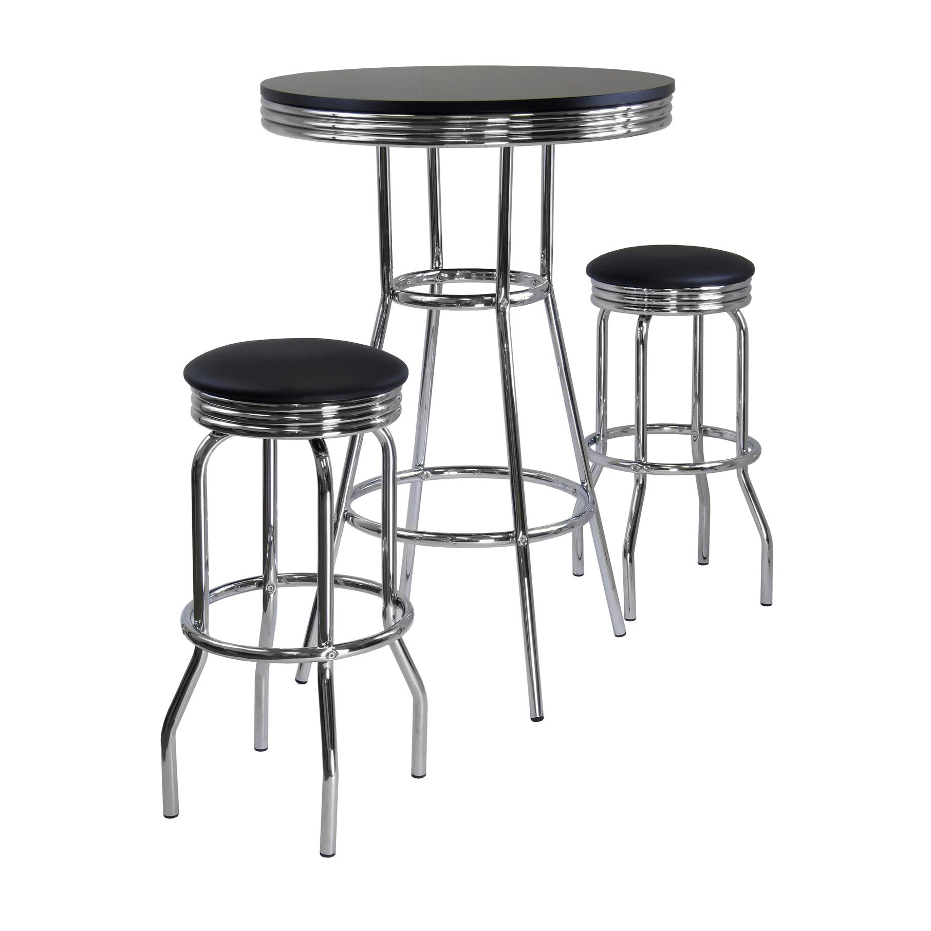 Winsome Summit Pub Table and 2 Swivel Stool Set, 3-Piece by Winsome