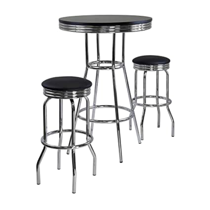 9c8c97bfb9d1 Amazon.com: Winsome Summit Pub Table and 2 Swivel Stool Set, 3-Piece:  Kitchen & Dining