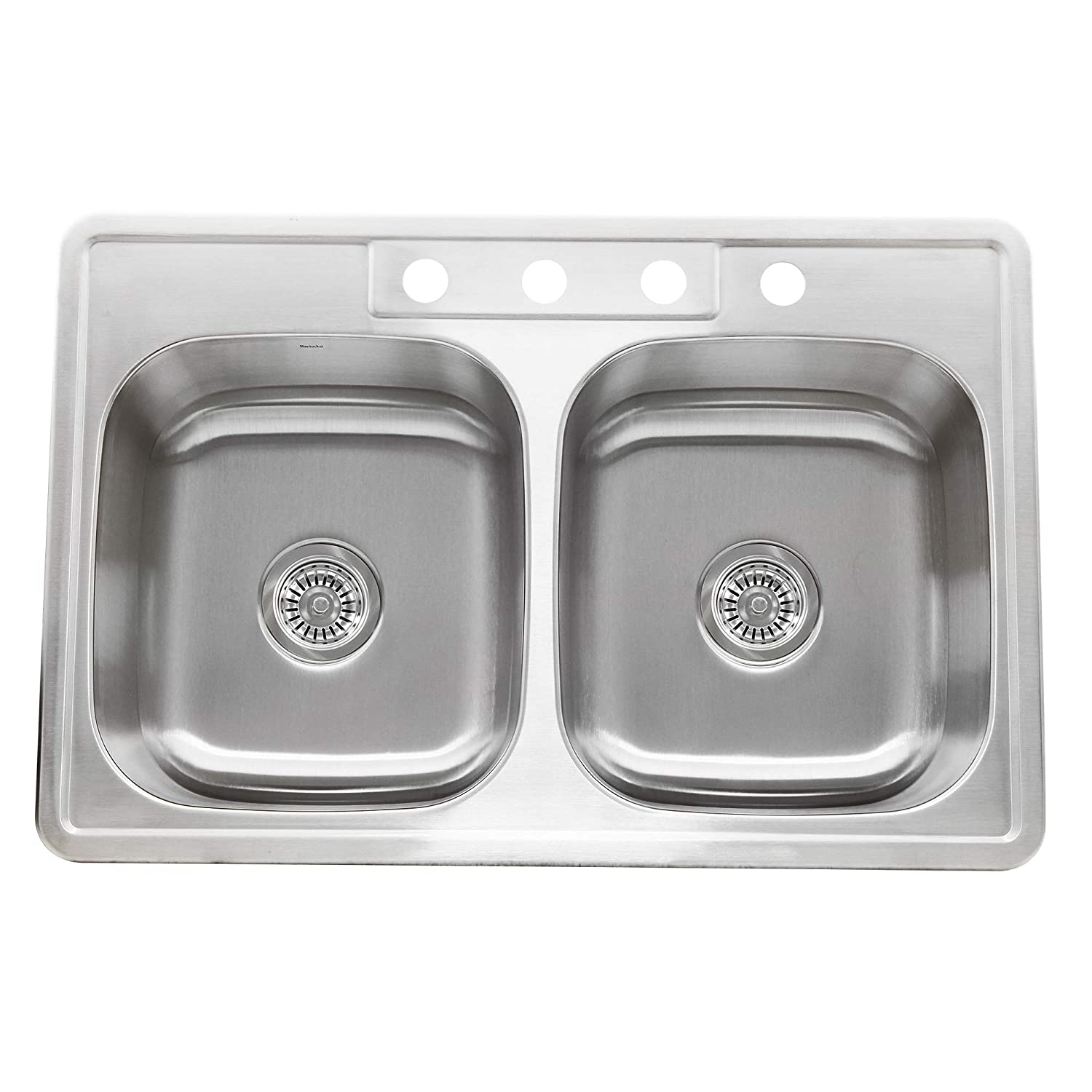 Nantucket Sinks NS3322-DE-9 33-Inch Drop-In Double Bowl Stainless Steel Kitchen Sink
