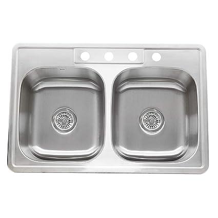Nantucket Sinks Ns3322 De 9 33 Inch Drop In Double Bowl Stainless