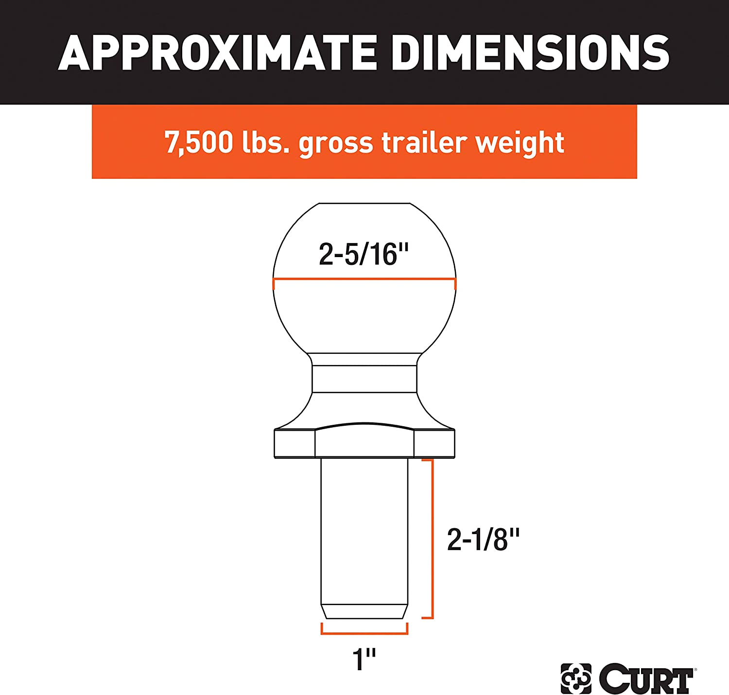 7,500 lbs. CURT 40054 Stainless Steel Trailer Hitch Ball 2-5//16-Inch Diameter Tow Ball with 1-Inch x 2-1//8-Inch Shank