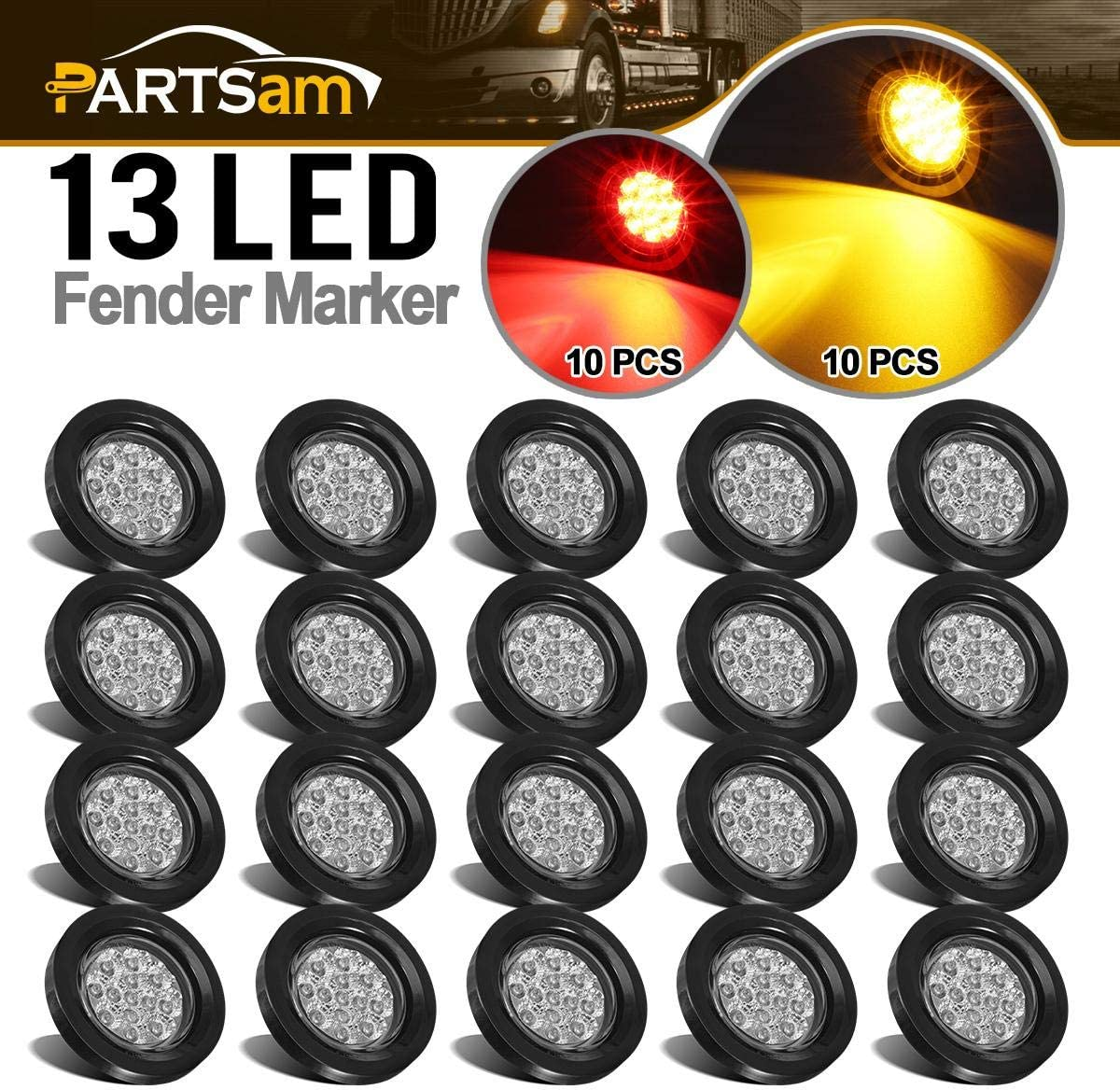 "Partsam 20Pcs 2.5"" Round Trailer Led and Side Marker Lights 13 Diodes Clear Lens w Reflectors Grommets/Pigtails Truck RV Waterproof, Led Cab Panel Lights for Breather Bar (10Amber+10Red) 71QAtNSSZaLSL1200_"