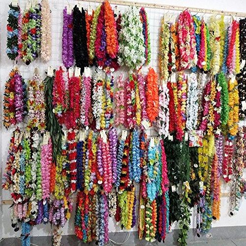 Pinkdose 50 Pcs Fleur Hawaïenne Leis Collier Guirlande Fête Costumées Hawaii Fleurs Tropicales Fête De Plage De Décoration Plage Diy Partie