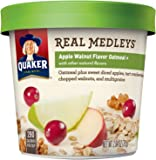 Quaker Real Medleys Oatmeal+, Apple Walnut, Instant Oatmeal+ Breakfast Cereal, (Pack of 12)