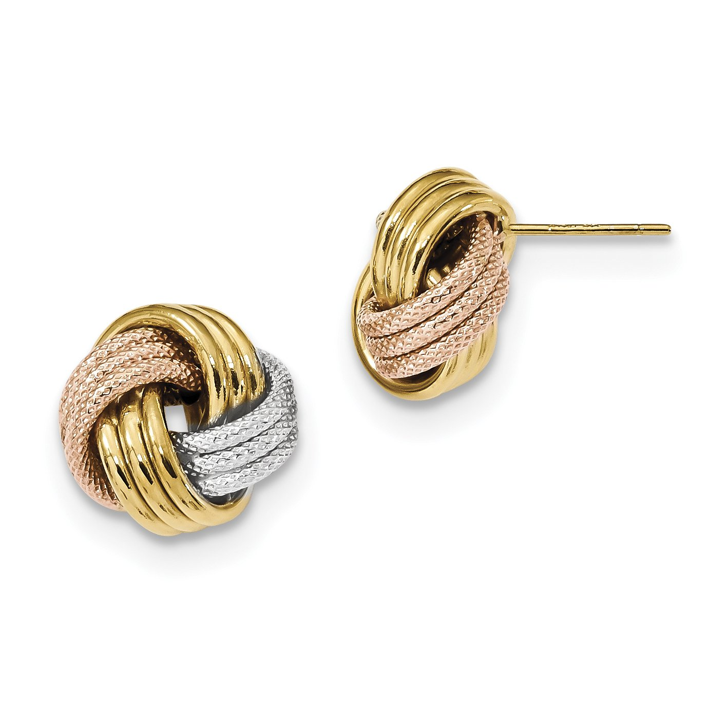 ICE CARATS 14k Yellow Gold White Rose Rhod Pol Textured Triple Love Knot Post Stud Ball Button Earrings Fine Jewelry Gift Set For Women Heart