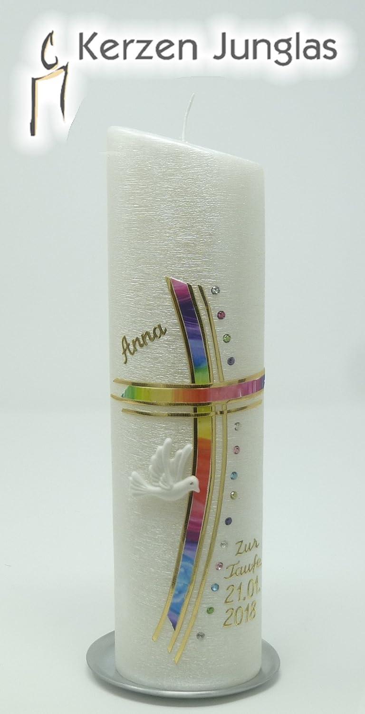 Taufkerze Regenbogen - Junge Mädchen - mit Perlmuttstuktur - goldfarbig mit Swarovski-Steinen - 24x6 cm -1035 - mit