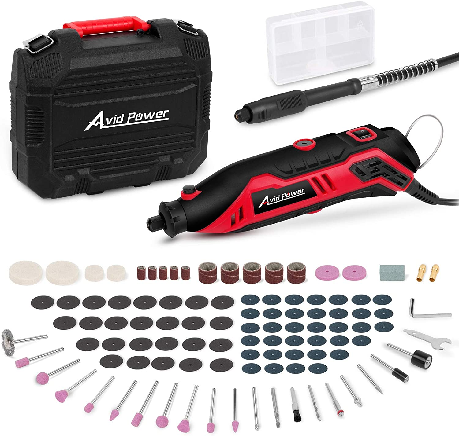 Avid Power 12v Rotary Tool Kit Variable Speed With Flex Shaft 107pcs Accessories And Carrying Case For Grinding Cutting Wood Carving Sanding And Engraving Amazon Com