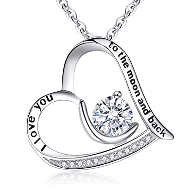 Amazon Com Brilove 925 Sterling Silver Heart Necklace For Women I