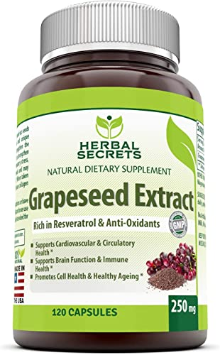 Herbal Secrets Grapeseed Extract 250 Mg 120 Capsules Non-GMO – Supports Cardiovascular Health, Immune Function and Healthy Aging* Promotes Brain Function*