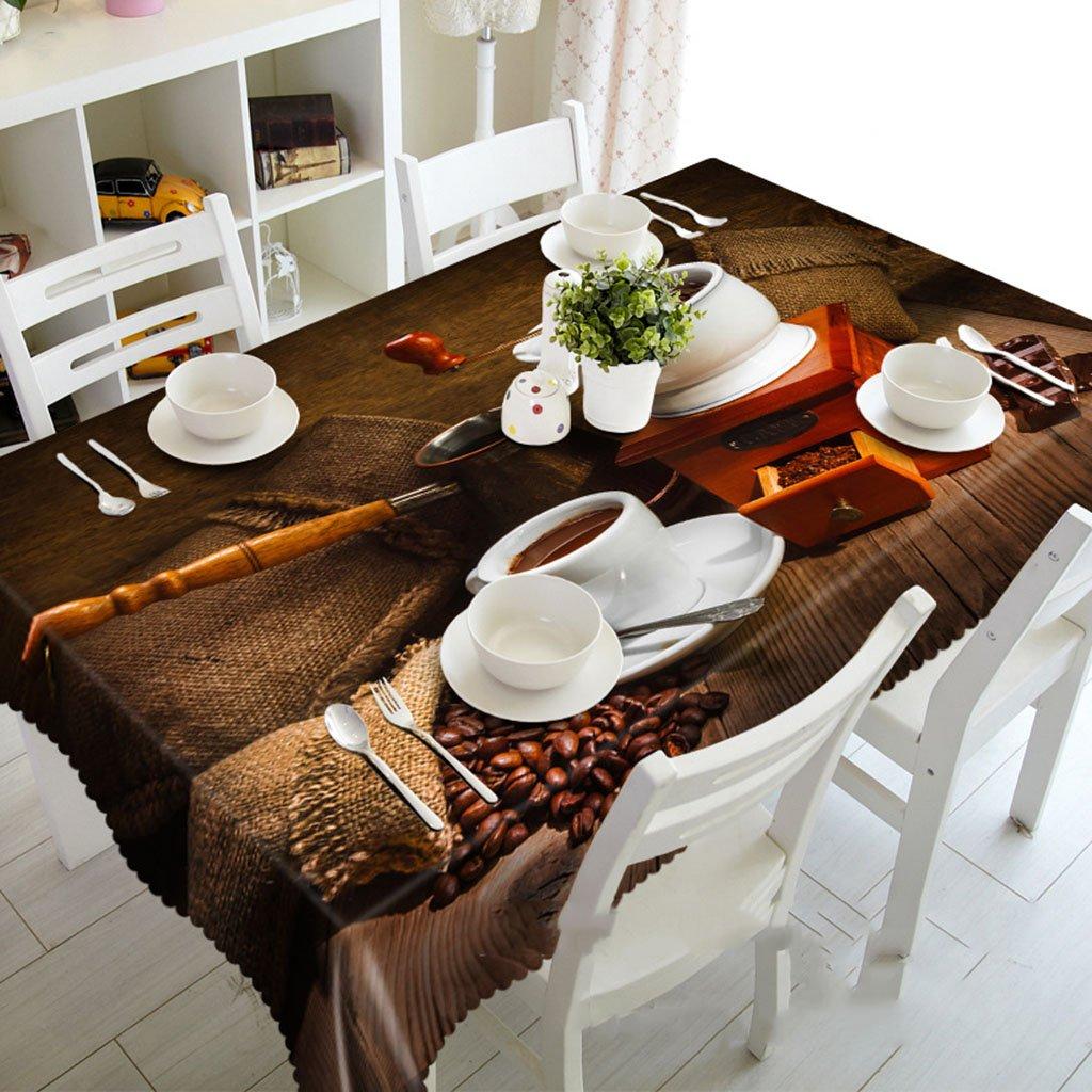 Mantel rectangular de granos de café molidos 3D Mantel rectangular - Respetuoso con el medio ambiente y sin sabor - Resistente al agua impreso digitalmente ( Tamaño : Rectangular -152228cm )