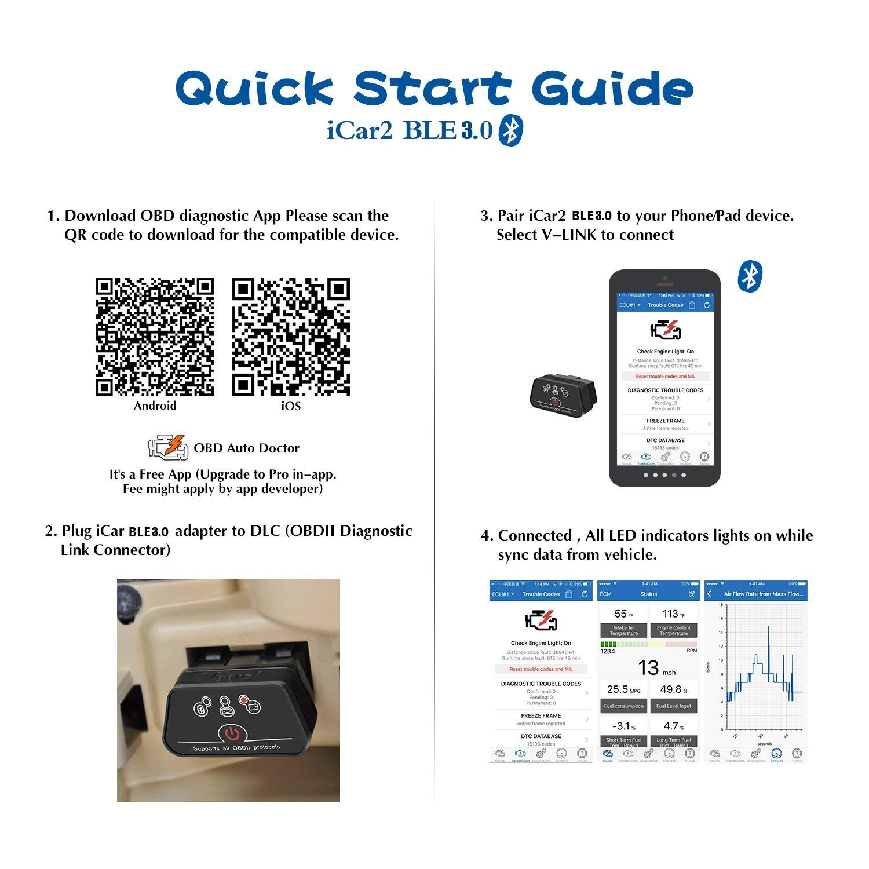 Vgate iCar2 Bluetooth3.0 Code Reader Mini OBDII Diagnostic Scanner- ELM327 OBD2Car Diagnostics Scan Tool for Torque Android Vgatemall Black