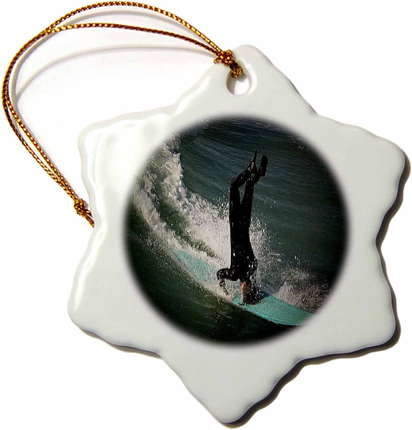 3dRose orn_26244_1 Huntington Beach Headstand Surfing Porcelain Snowflake Ornament, 3-Inch