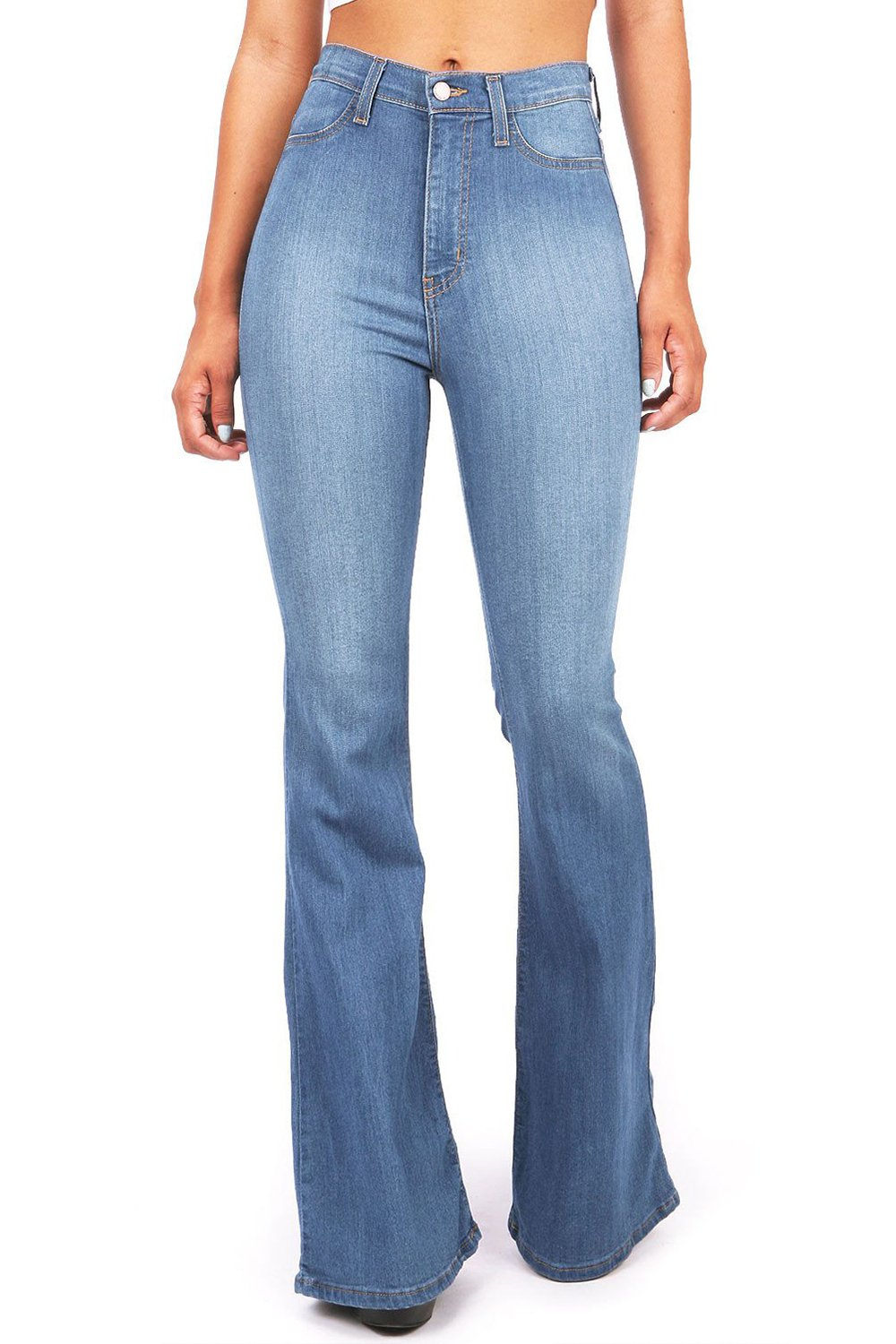 chimikeey Womens Juniors Flared High Waisted Bell Bottom Fitted Denim Jeans Jeggings