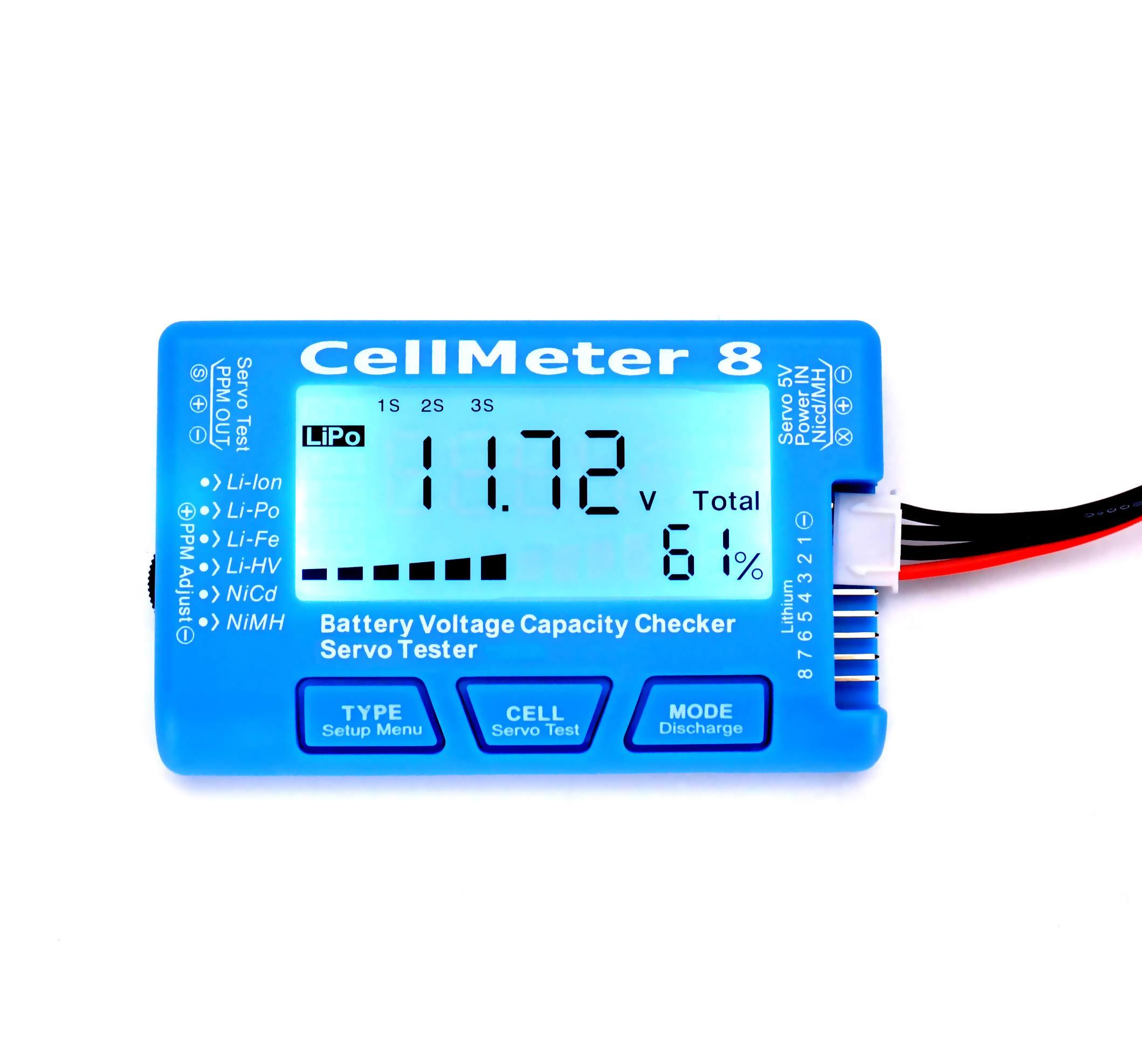 RC CellMeter 8 Digital Battery Capacity Checker Battery Voltage Tester LCD Backlight for LiPo Life Li-ion NiMH Nicd