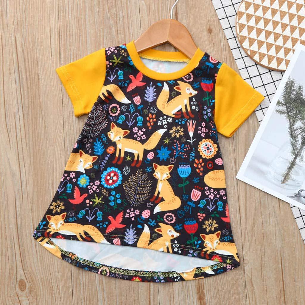 Baby Girls Summer Sundress Clothes Set 0-4 Years Todder Newborn Girl Cartoon Floral Dresses Short Sleeve Skirt