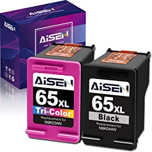 AISEN Remanufactured Ink Cartridge 65 Replacement for HP 65 65XL 65 XL Used in HP Envy 5055 5052 5058 DeskJet 3755 2655 3720 3721 3722 3723 3752 3730 3758 2652 2624 2622 (1 Black 1 Tri-Color)