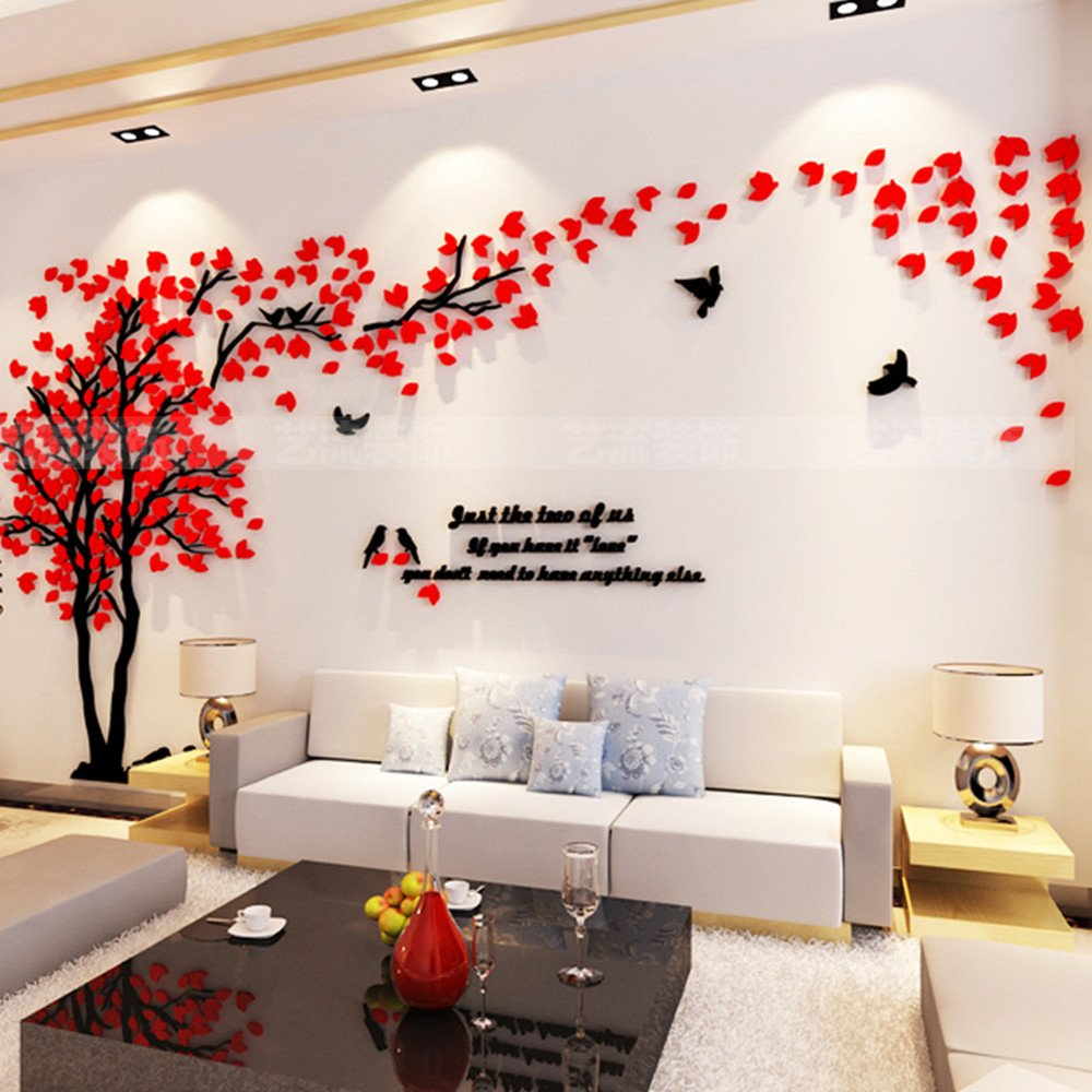 DIY 3D Huge Couple Tree Wall Stickers Crystal Acrylic Wall Decals Wall Murals Home Decorations Arts (L, Silver, Left) MJTP