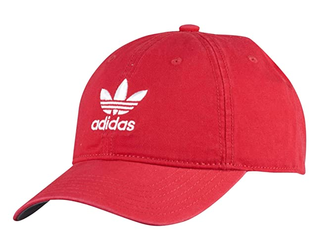 adidas Men's Originals Relaxed Strapback Cap, Scarlet Red/White, One Size