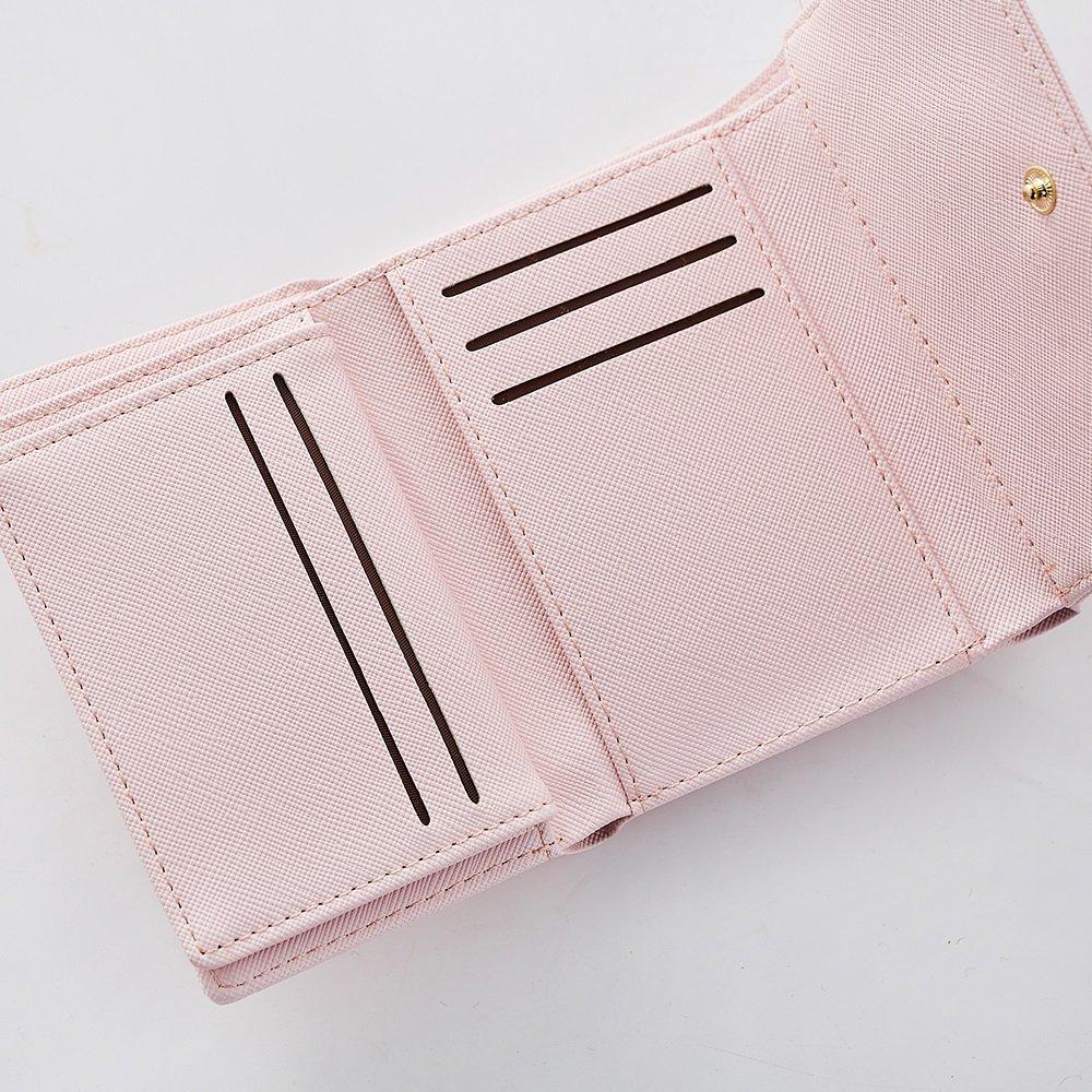 MUMUWU Womens Wallet Handle Small Card Holder Cross Pattern Metal Hardware Tri-Fold Multi-Card Wallet Bag Color : Blue, Size : S