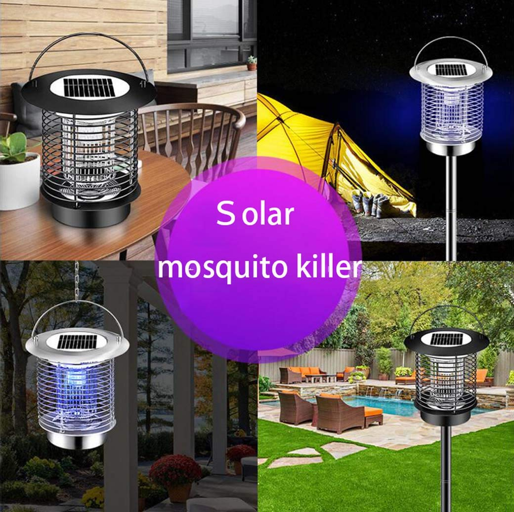Yd&h Solar Powered Bug Zapper - Waterproof Mute Portable LED Fly Pests Catcher Lamp,50㎡ Range Mosquito Insect Killer-Hang or Stake in The Ground- Mosquito Trap lamp,b by Yd&h (Image #2)