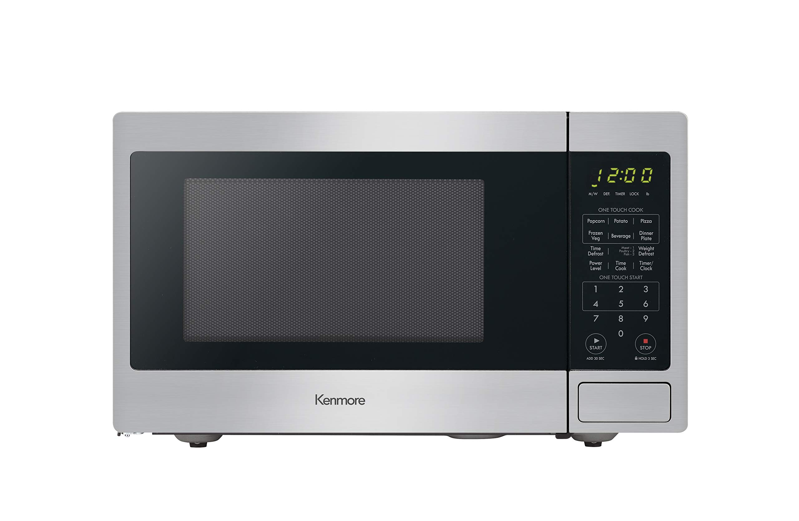 Kenmore 70923 0.9 cu. ft Small Compact 900 Watts Countertop Microwave with 10 Power Settings, 12 Heating Presets, Removable Turntable ADA Compliant, Stainless Steel by Kenmore
