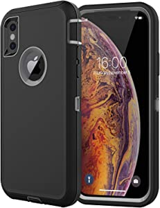 Diverbox Compatible with iPhone Xs Case,iPhone X Case [Shockproof] [Dropproof] [Dust-Proof],Heavy Duty Protection Phone Case Cover for Apple iPhone Xs and X (Black & Gray)