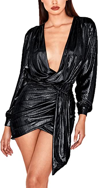 Ophestin Womens Sexy Deep V Neck Metallic Glitter Ruched Long Sleeve Party Dress