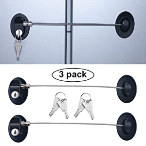 3 Pieces Refrigerator Door Lock Strong Adhesive Freezer Door Lock File Drawer Lock Child Safety Cupboard Lock with Keys (Black)