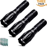 3 Pack Super Bright LED Tactical Flashlights, 300 High Lumens, Zoomable, 3 Modes, IPX6 Waterproof, Aluminum Built to Last. Great for Camping, Hiking, Hurricane & Car (9 Batteries Incl.)