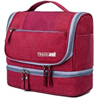 Soperwillton Hanging Toiletry Bag for Men & Women Large Waterproof Portable Cosmetic Makeup Shaving Dopp Kit Travel Bags Organizer Red