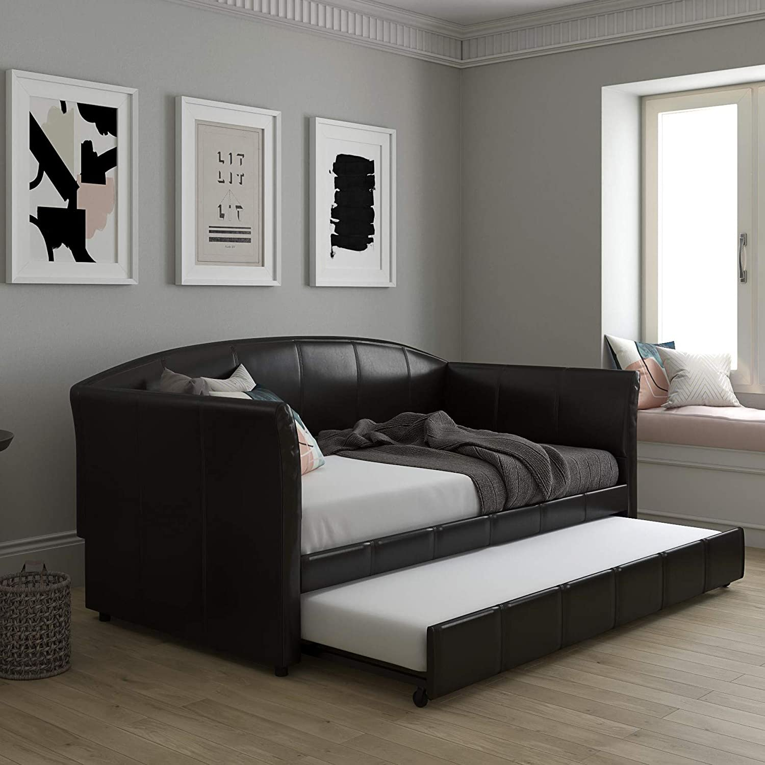 DHP Halle Upholstered In Leather Daybed and Trundle