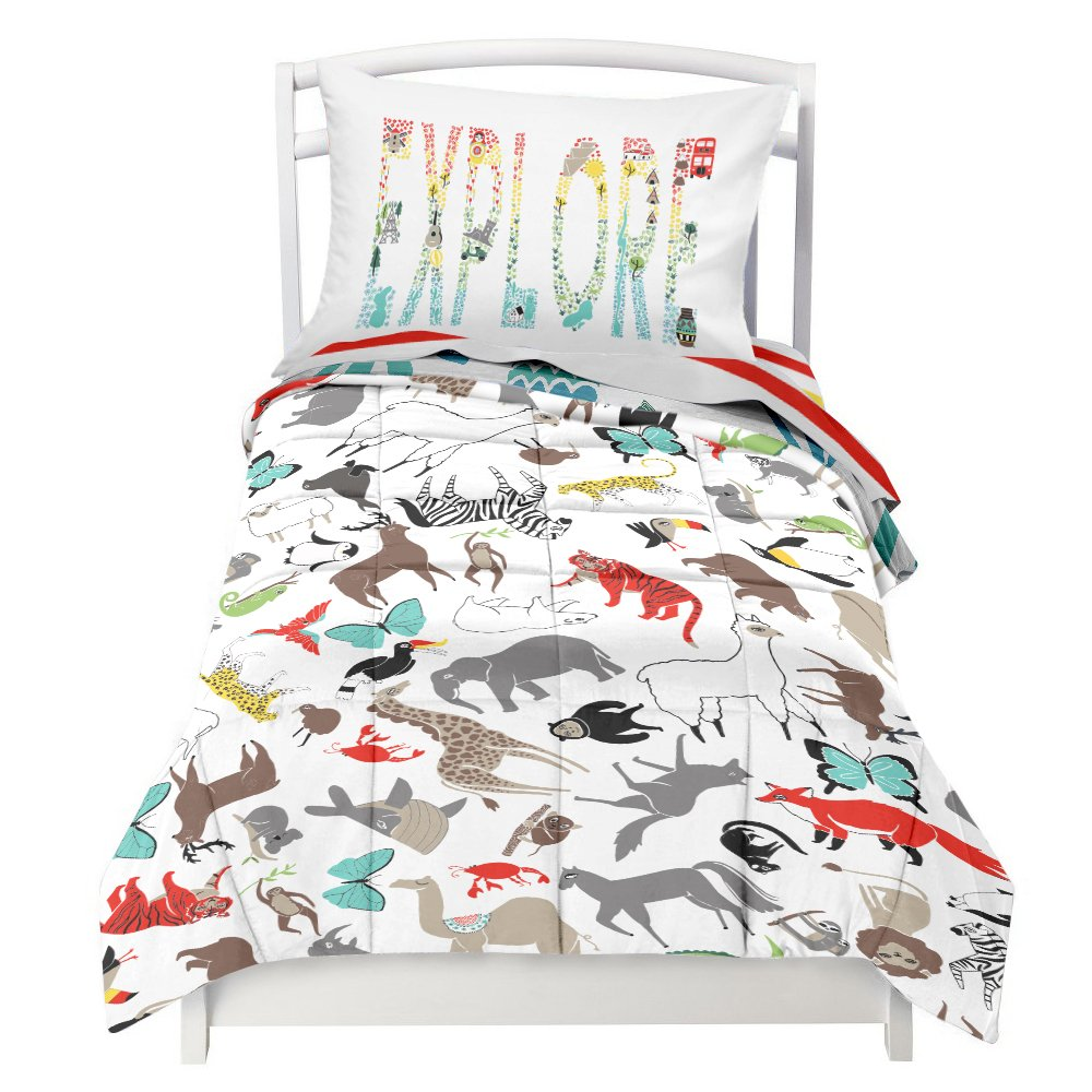 Toddler Reversible Bedding Set World Explorer - Adorable 4 Piece Set